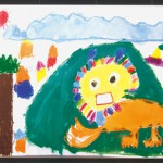 「空とぶライオン」の絵本を読んで描きました。すてきなたてがみをなびかせて、今にも広い空を飛んでいきそうですね。