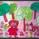 「赤ずきんがお花をつんでいるのをおおかみが見ているところ」を物語の中に入りこんで夢中に描いていました。